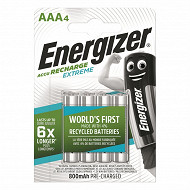 Energizer 4 piles rechargeables AAA 800 mAh recharge extreme
