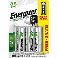 Energizer 5 piles rechargeables AA (HR6) + 1 offerte - 2000 mAh déjà chargées