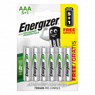 Energizer 5 piles rechargeables AAA (HR03) + 1 offerte - 700 mAh recharge power plus