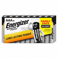 Energizer 16 piles alcalines AAA (LR03) pack family
