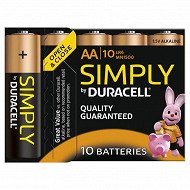 Duracell 10 piles alcalines AA (LR06) simply
