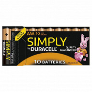 Duracell 10 piles AAA (LR03) simply