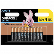 Duracell 10 piles alcalines AAA (LR03) + 4 offertes ultra power