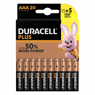 Duracell plus power AAA 15+5 offertes