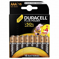 Duracell 12 piles alcalines AAA (LR03) + 4 offertes plus power