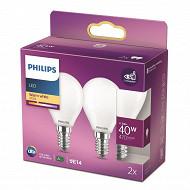 Philips ampoules LED classic 40W P45 E14 WW FR ND RF boîte de 2