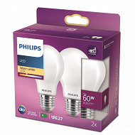 Phulips ampoule LED Classic 60W A60 E27 WW ND RF boite de 2