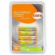 Cora 4 piles rechargeables AAA 800 mAh - 1.2V déjà chargées