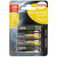 Cora 4 piles alcalines AA (LR06) méga-activées