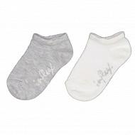 Lot de 2 paires de socquettes ultra courtes unies Influx ECRU/GRIS 24\26