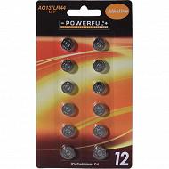 Lot de 12 piles alcaline AG13/LR44 1.5V