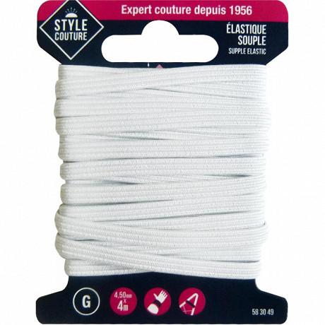 Style couture élastique souple 4,5mm x 4m blanc