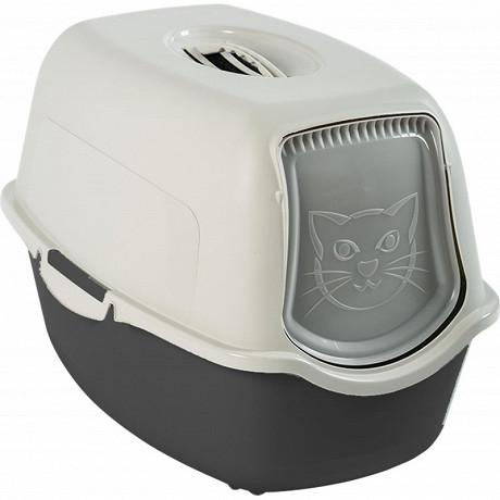 Maison de toilette anthracite/blanc pour chat avec filtre