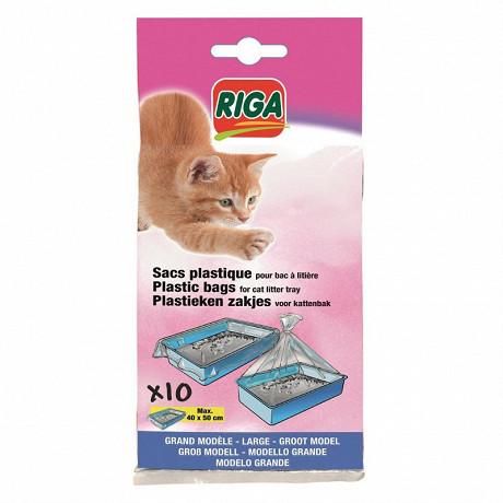 Riga 10 sachets plastiques pour bac à litière dim 40x50cm grand modèle