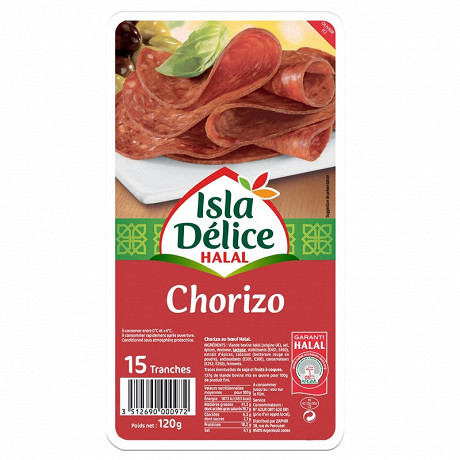 Isla Délice chorizo halal 15 tranches 120g