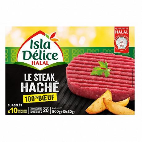 Isla Délice steaks hachés 100% pur boeuf halal x10 800g