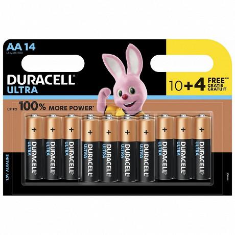 Duracell 10 piles alcalines AA (LR6) + 4 offertes ultra power