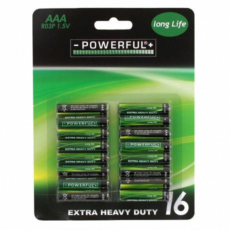 Lot de 16 piles AAA salines