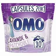 Omo 30 capsules dose 2en1 lavande & patchouli 30 dosettes