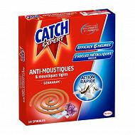 Catch 10 spirales anti-moustiques 6h parfum geranium