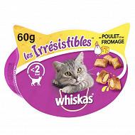 Whiskas boîte friandises pour chat les irrésistibles au poulet et fromage 60g