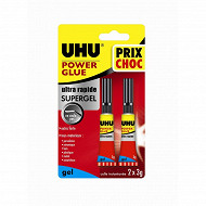 Uhu colle power glue ultra rapide gel 2 x 3grammes