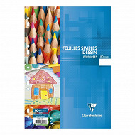 FEUILLES SIMPLES DESSIN PERFOREES A4 80 PAGES P.E.F.C. UNI 110G CLAIREFONTAINE