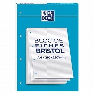 BLOC BRISTOL 2.0 OXFORD PERFORE A4 30 FICHES 210G QUADRILLE 5mm
