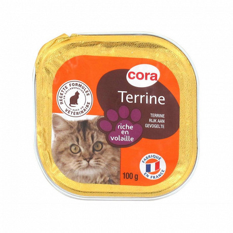 Cora terrine riche en volaille pour chat 100g