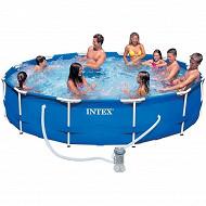 Intex kit piscine tubulaire 3m66 x 76cm ronde