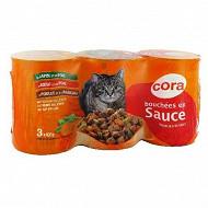 Cora bouchées en sauce chat boeuf foie/poulet agneau/lapin foie 3 x 400g