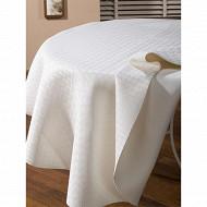 Protège table rond blanc
