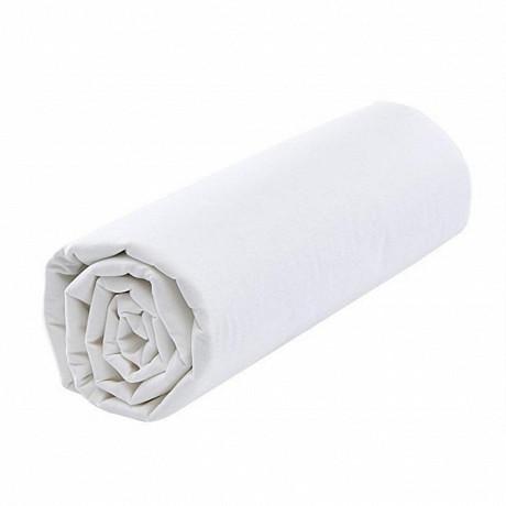 Drap housse 160x200 uni blanc 57 fils