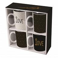 "Coffret 4 mugs ""love"""