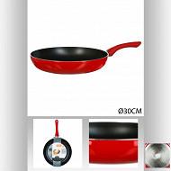 Poêle 30 cm essentielle rouge induction