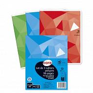 Cora lot 3 cahier piqûre (agrafe) 17 x 22 cm 96 pag seyes grands carreaux 90g couv polypropylène