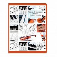 Cora cahier musique et chant  17 x 22 cm 32 pages seyes grands carreaux + musique