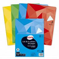 Cora lot 4 cahiers piqûre (agrafe) 24x32 96p 5x5 petits carreaux 90g couverture vernie