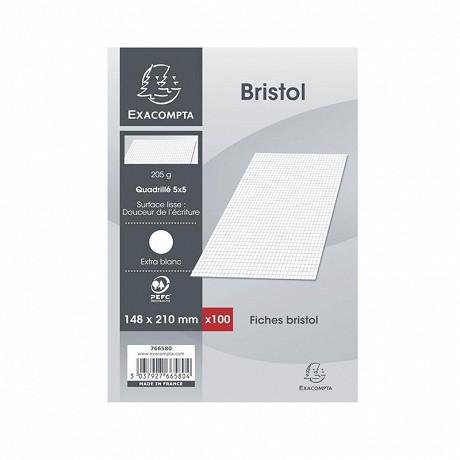 Exacompta - 100 fiches bristol blanches non perforées 148x210 5x5