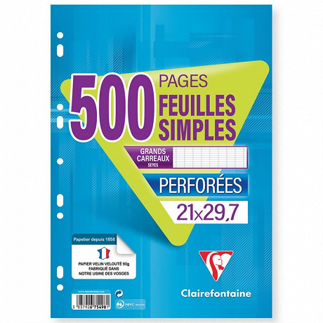 Clairefontaine feuilles simples 21x29.7 cm 500 pages seyes 90g
