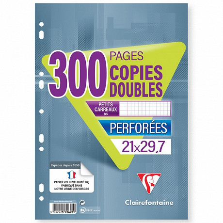 Clairefontaine copies doubles 21x29.7 cm 200 pages + 100 offertes 5x5