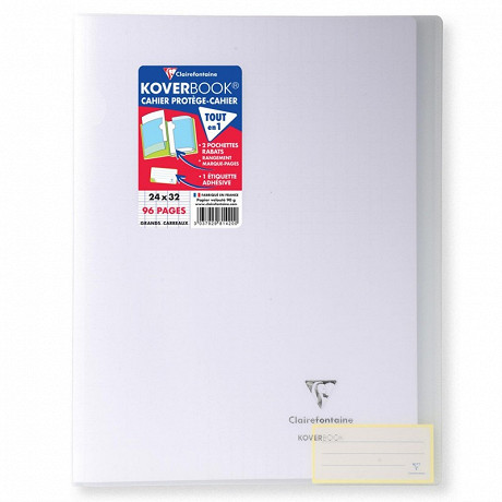 Clairefontaine kover book cahier 24x32 cm grands carreaux incolore translucide