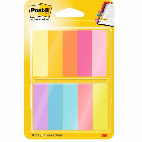 Notes post-it marque-pages papier - 10 blocs de 50f couleurs assortiesc 670-10ab