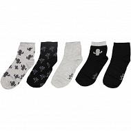 Lot de 5 paires de socquettes fantaisies et unies influx basic CACTUS 37\41