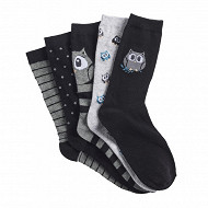 Lot de 5 paires de mi chaussettes fantaisies et unies influx basic HIBOUX GRIS/NOIR 37\41