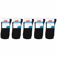 Lot de 5 paires de mi chaussettes unies mixte Influx Basic NOIR 36\40