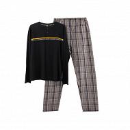 Pyjama bas chaine et trame homme MARINE/ CARREAUX GRIS S