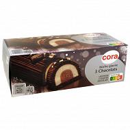 Cora bûche glacée au 3 chocolats avec morceaux de chocolat blanc et sauce chocolat 8 parts 1l - 533g