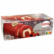 Cora bûche glacée vanille et sorbet de fruits rouges sauce fruits rouges 1l - 551g