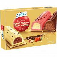 Pilpa dessert 6 bûchettes vanille/choco + fraise/vanille + choco 355g